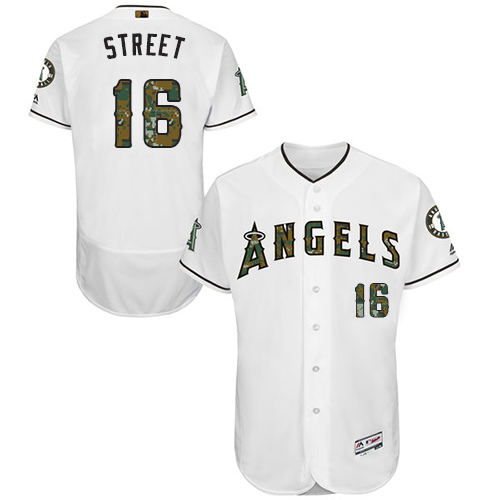 Men's Majestic Los Angeles Angels of Anaheim #16 Huston Street Authentic White 2016 Memorial Day Fashion Flex Base MLB Jersey