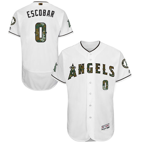 Men's Majestic Los Angeles Angels of Anaheim #0 Yunel Escobar Authentic White 2016 Memorial Day Fashion Flex Base MLB Jersey