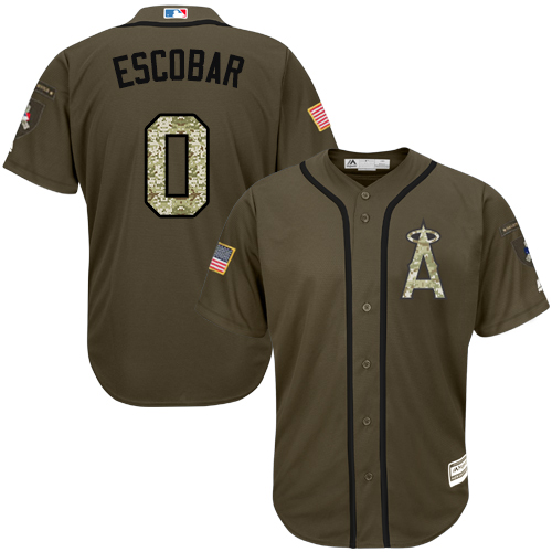 Men's Majestic Los Angeles Angels of Anaheim #0 Yunel Escobar Replica Green Salute to Service MLB Jersey