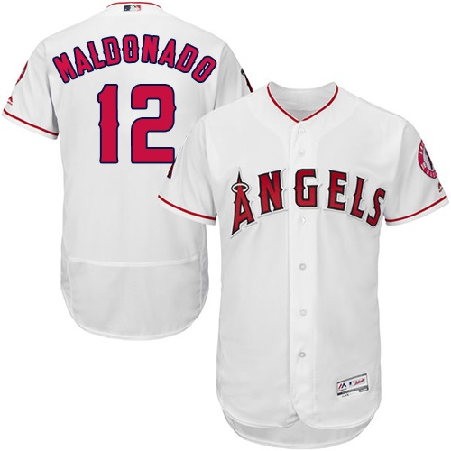 Men's Majestic Los Angeles Angels of Anaheim #12 Martin Maldonado White Flexbase Authentic Collection MLB Jersey