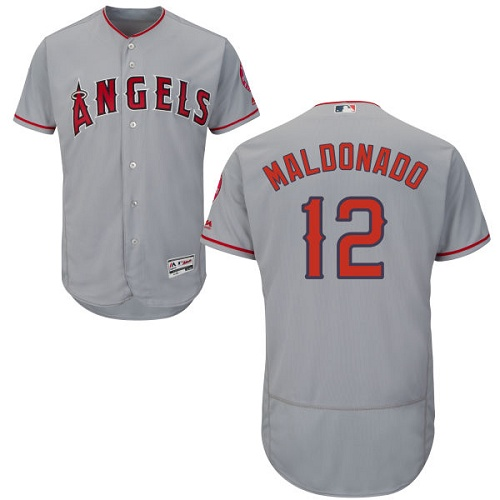 Men's Majestic Los Angeles Angels of Anaheim #12 Martin Maldonado Grey Flexbase Authentic Collection MLB Jersey