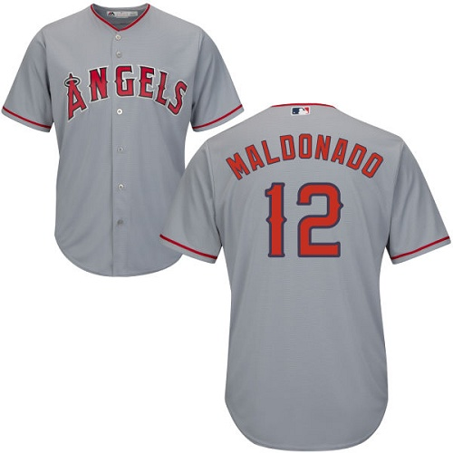 Men's Majestic Los Angeles Angels of Anaheim #12 Martin Maldonado Replica Grey Road Cool Base MLB Jersey