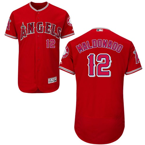 Men's Majestic Los Angeles Angels of Anaheim #12 Martin Maldonado Red Alternate Flexbase Authentic Collection MLB Jersey