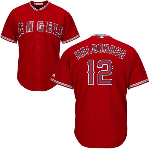 Men's Majestic Los Angeles Angels of Anaheim #12 Martin Maldonado Replica Red Alternate Cool Base MLB Jersey