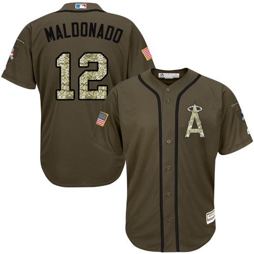Men's Majestic Los Angeles Angels of Anaheim #12 Martin Maldonado Authentic Green Salute to Service MLB Jersey