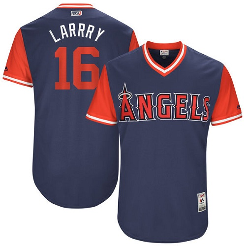 "Men's Majestic Los Angeles Angels of Anaheim #16 Huston Street ""Larrry"" Authentic Navy Blue 2017 Players Weekend MLB Jersey"