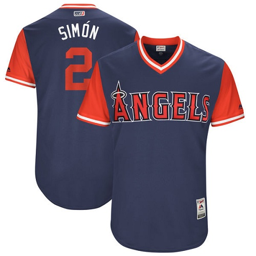 "Men's Majestic Los Angeles Angels of Anaheim #2 Andrelton Simmons ""Simon"" Authentic Navy Blue 2017 Players Weekend MLB Jersey"