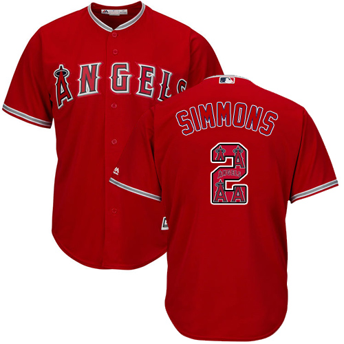 Men's Majestic Los Angeles Angels of Anaheim #2 Andrelton Simmons Authentic Red Team Logo Fashion Cool Base MLB Jersey