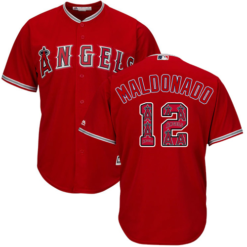 Men's Majestic Los Angeles Angels of Anaheim #12 Martin Maldonado Authentic Red Team Logo Fashion Cool Base MLB Jersey