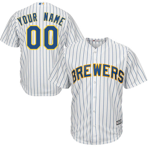 Men's Majestic Milwaukee Brewers Customized Replica White Alternate Cool Base MLB Jersey