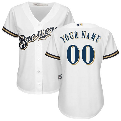 Women's Majestic Milwaukee Brewers Customized Authentic White Home Cool Base MLB Jersey