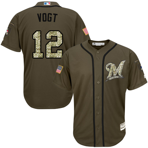 Men's Majestic Milwaukee Brewers #12 Stephen Vogt Replica Green Salute to Service MLB Jersey