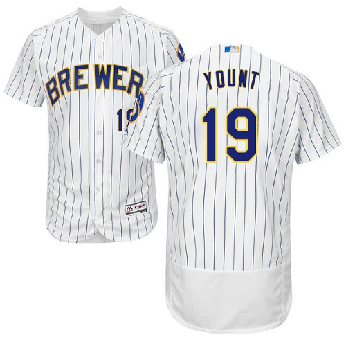 Men's Majestic Milwaukee Brewers #19 Robin Yount Authentic White Home Cool Base MLB Jersey