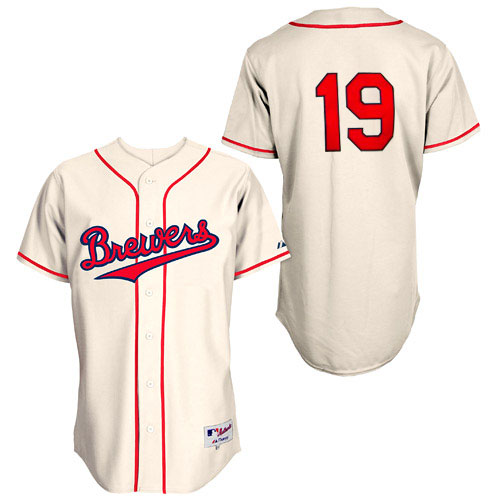 Men's Majestic Milwaukee Brewers #19 Robin Yount Authentic Cream 1948 Turn Back The Clock MLB Jersey