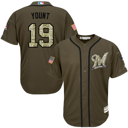 Men's Majestic Milwaukee Brewers #19 Robin Yount Replica Green Salute to Service MLB Jersey