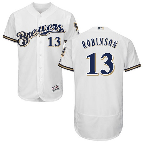 Men's Majestic Milwaukee Brewers #13 Glenn Robinson White Flexbase Authentic Collection MLB Jersey