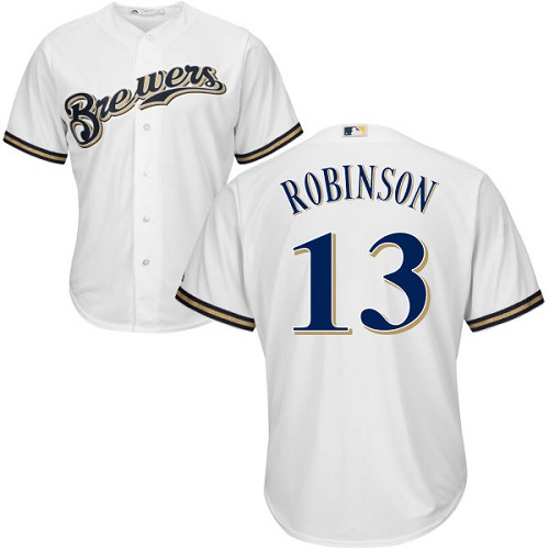Men's Majestic Milwaukee Brewers #13 Glenn Robinson Replica White Home Cool Base MLB Jersey