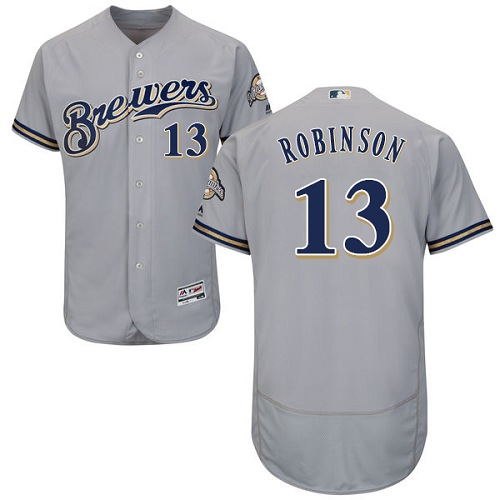 Men's Majestic Milwaukee Brewers #13 Glenn Robinson Grey Flexbase Authentic Collection MLB Jersey