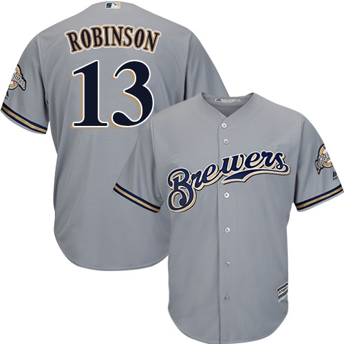Men's Majestic Milwaukee Brewers #13 Glenn Robinson Replica Grey Road Cool Base MLB Jersey