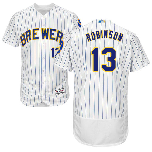 Men's Majestic Milwaukee Brewers #13 Glenn Robinson White/Royal Flexbase Authentic Collection MLB Jersey