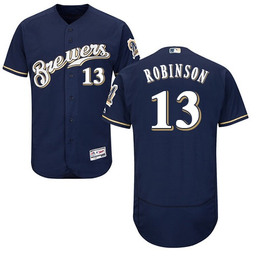 Men's Majestic Milwaukee Brewers #13 Glenn Robinson Navy Blue Flexbase Authentic Collection MLB Jersey