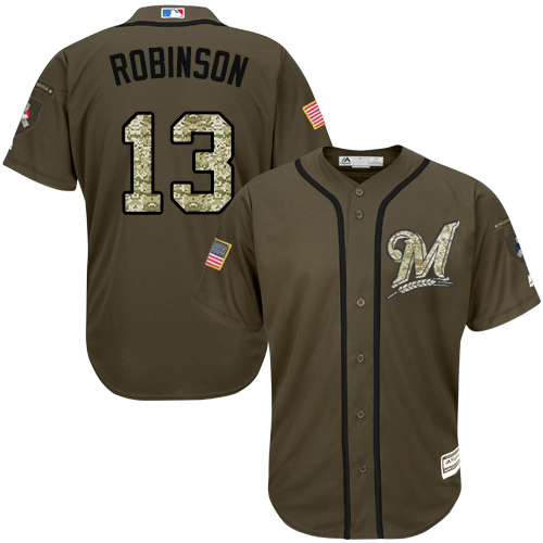 Men's Majestic Milwaukee Brewers #13 Glenn Robinson Replica Green Salute to Service MLB Jersey