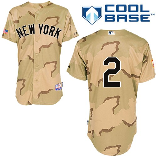 Men's Majestic New York Yankees #2 Derek Jeter Authentic Camo Commemorative Military Day Cool Base MLB Jersey
