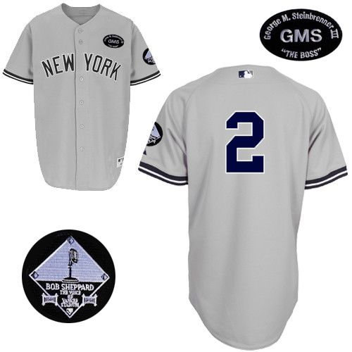 "Men's Majestic New York Yankees #2 Derek Jeter Authentic Grey GMS ""The Boss"" MLB Jersey"