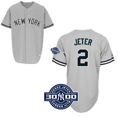 Men's Majestic New York Yankees #2 Derek Jeter Authentic Grey W/3000 Hits Patch MLB Jersey
