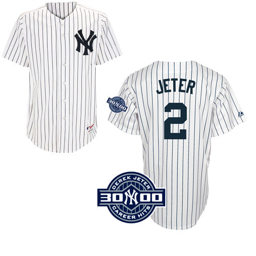 Men's Majestic New York Yankees #2 Derek Jeter Authentic White W/3000 Hits Patch(Have Player Name on Back) MLB Jersey