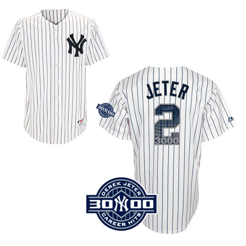 Men's Majestic New York Yankees #2 Derek Jeter Authentic White Special Edition W/3000 Hits Patch MLB Jersey