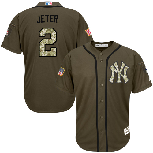 Men's Majestic New York Yankees #2 Derek Jeter Authentic Green Salute to Service MLB Jersey