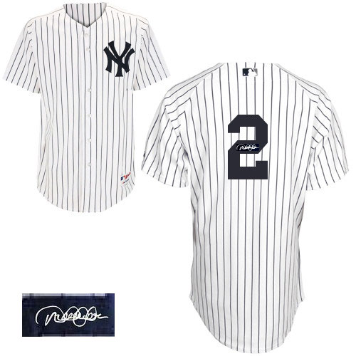 Men's Majestic New York Yankees #2 Derek Jeter Authentic White Home Autographed MLB Jersey