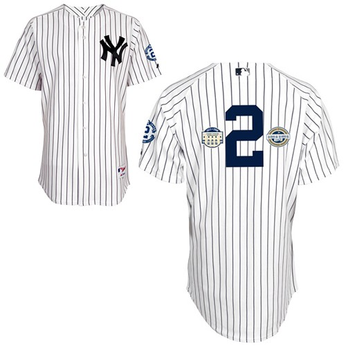 Men's Majestic New York Yankees #2 Derek Jeter Authentic White w/Commemorative Final Season & Inaugural Season & Retirement Patch MLB Jersey