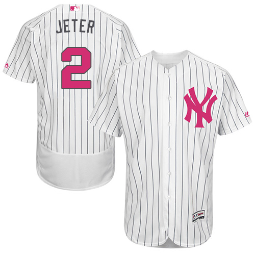 Men's Majestic New York Yankees #2 Derek Jeter Authentic White 2016 Mother's Day Fashion Flex Base MLB Jersey