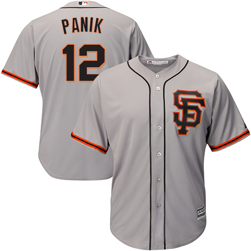 Men's Majestic San Francisco Giants #12 Joe Panik Replica Grey Road 2 Cool Base MLB Jersey