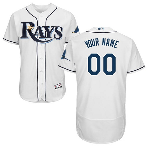 Men's Majestic Tampa Bay Rays Customized Home White Flexbase Authentic Collection MLB Jersey