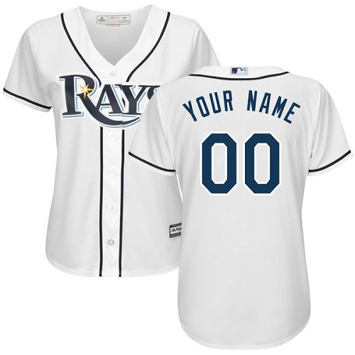 Women's Majestic Tampa Bay Rays Customized Replica White Home Cool Base MLB Jersey