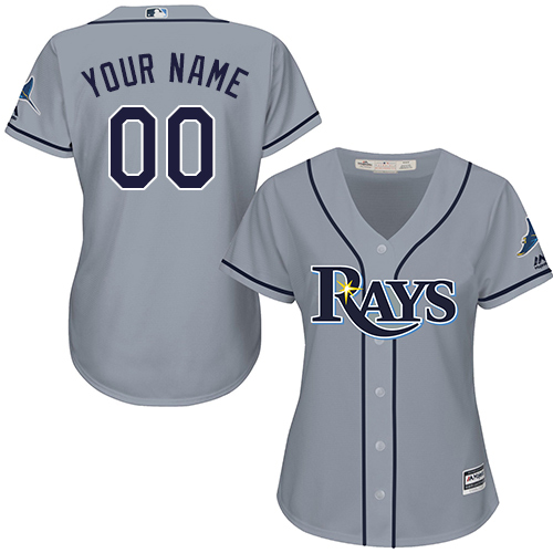 Women's Majestic Tampa Bay Rays Customized Replica Grey Road Cool Base MLB Jersey