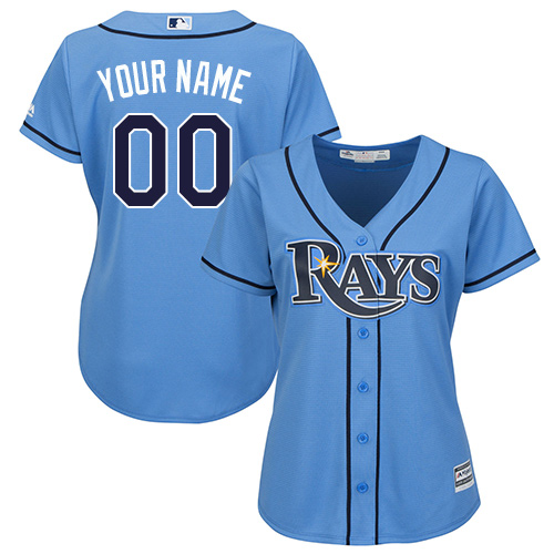 Women's Majestic Tampa Bay Rays Customized Authentic Light Blue Alternate 2 Cool Base MLB Jersey