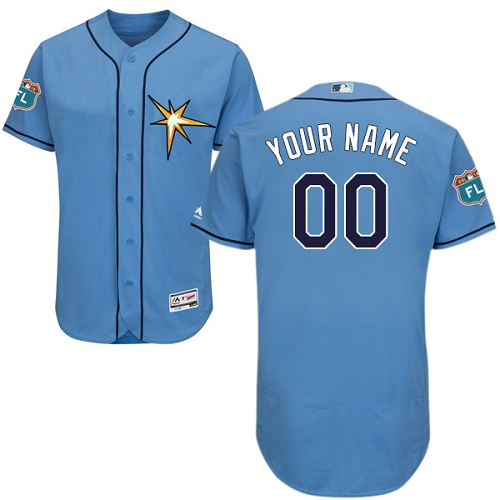 Men's Majestic Tampa Bay Rays Customized Light Blue Flexbase Authentic Collection MLB Jersey