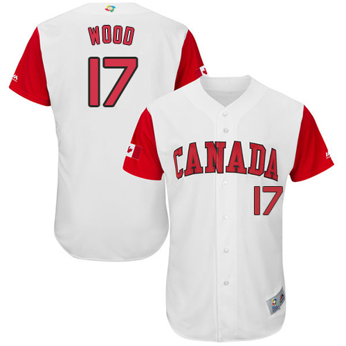 Men's Canada Baseball Majestic #17 Eric Wood White 2017 World Baseball Classic Authentic Team Jersey