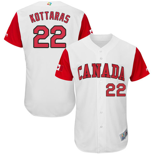 Men's Canada Baseball Majestic #22 George Kottaras White 2017 World Baseball Classic Authentic Team Jersey