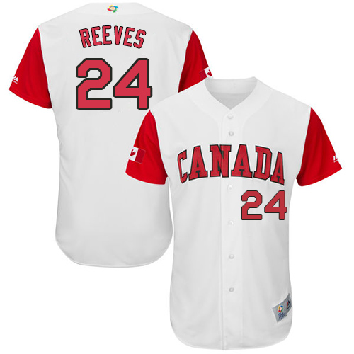 Men's Canada Baseball Majestic #24 Mike Reeves White 2017 World Baseball Classic Authentic Team Jersey