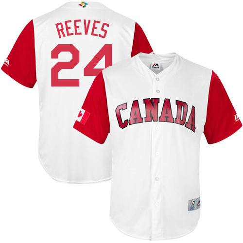 Men's Canada Baseball Majestic #24 Mike Reeves White 2017 World Baseball Classic Replica Team Jersey