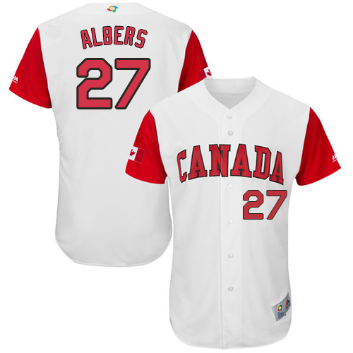 Men's Canada Baseball Majestic #27 Andrew Albers White 2017 World Baseball Classic Authentic Team Jersey
