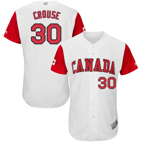 Men's Canada Baseball Majestic #30 Michael Crouse White 2017 World Baseball Classic Authentic Team Jersey
