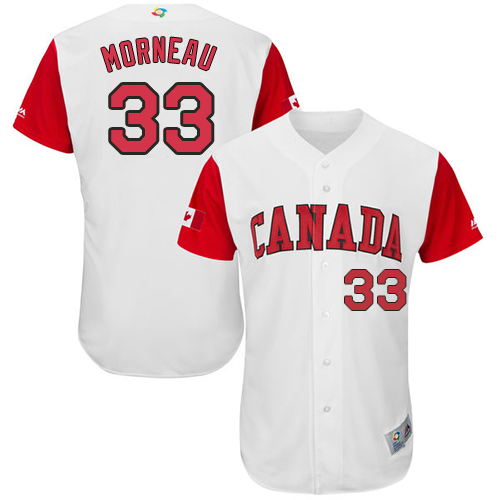 Men's Canada Baseball Majestic #33 Justin Morneau White 2017 World Baseball Classic Authentic Team Jersey