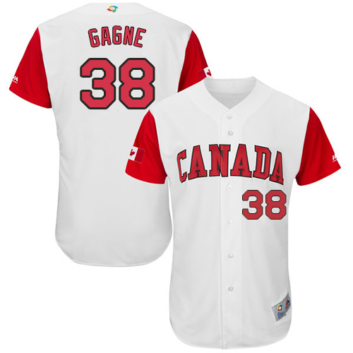 Men's Canada Baseball Majestic #38 Eric Gagne White 2017 World Baseball Classic Authentic Team Jersey