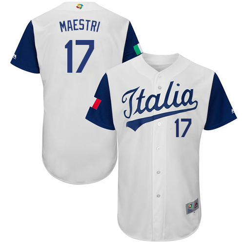 Men's Italy Baseball Majestic #17 Alex Maestri White 2017 World Baseball Classic Authentic Team Jersey